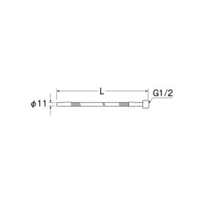 画像2: 水栓金具 三栄水栓 A281-77X5-13 厨房用ベンリー直パイプ L=500 [□]