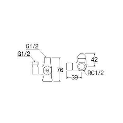 画像2: 水栓金具 三栄水栓 B4131DN-L1-13 D式分岐バルブ(共用形) [□]