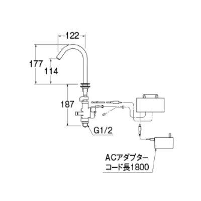 画像2: 水栓金具 三栄水栓 EY40-D7-13 立水栓(タッチ式) 洗面所用 ネロ [□]